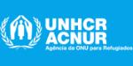 Logo da UNHCR ACNUR destacando que apoiamos a agência da ONU para refugiados